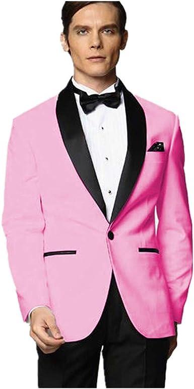 MYS Men de Custom Made Groomsman Esmoquin Traje de Color Rosa Pantalones de Color Negro Pajarita Set