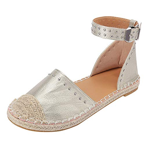 (JJLIKER Women Fashion Studs Flat Sandals Closed Toe Ankle Buckle Strap Shoes Classic Comfort Espadrille Loafers Gold)