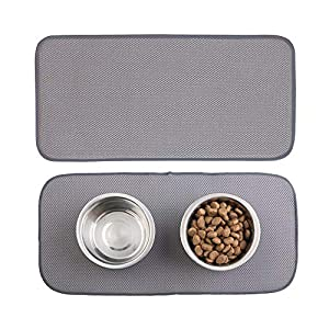 mDesign Premium Quality Microfiber Polyester Pet Food and Water Bowl Feeding Mat for Dogs – Ultra Absorbent Reversible… Click on image for further info.