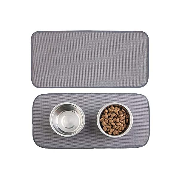 mDesign Premium Quality Microfiber Polyester Pet Food and Water Bowl Feeding Mat for Dogs - Ultra Absorbent Reversible Placemat - Folds for Compact Storage - Small 1