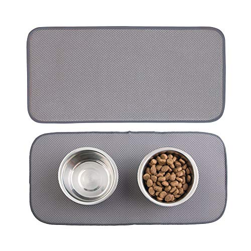 mDesign Premium Quality Microfiber Polyester Pet Food and Water Bowl Feeding Mat for Dogs – Ultra Absorbent Reversible Placemat – Folds for Compact Storage – Small
