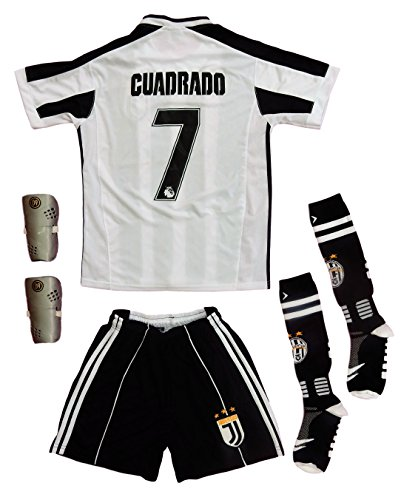 timeless design deece 4c5a4 Cuadrado 7 Juventus Home Jersey, Shorts, Soccer Socks, and a pair of gift  shin guard. Sizes for children and youth.