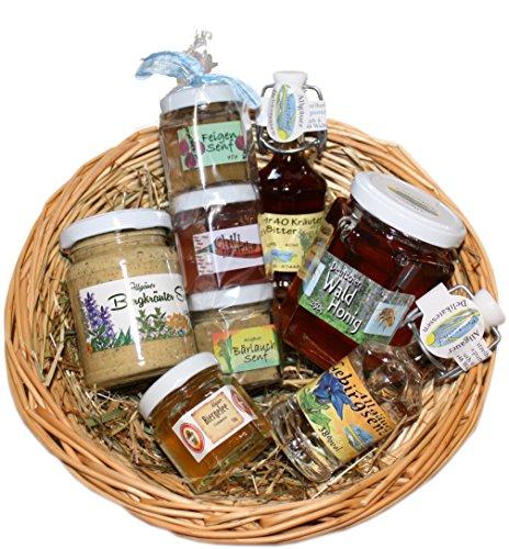 Allgäuer Delikatessen Geschenkkorb | Feinkost Geschenkset mit Bergkräuter-, Feigen- und Bärlauchsenf, Wald Honig, Chili…