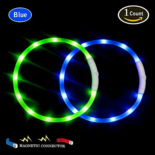 LED Dog Collar,USB Rechargeable Glowing Dog Collar, Light Up Collar Improved Dog Safety at Night, 3 Flashing Modes,Water-Resistant Lighted Collar Fits for Small Medium Large Dogs (Royal Blue-Magnetic)