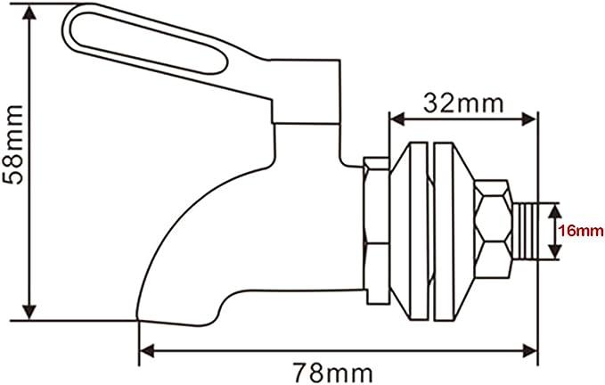 EgoEra/® 304 Inox Robinet de Rechange pour Fontaine /à eau//Robinet de Bi/ère//Boisson Robinet//Robinet de Distributeur de Boissons