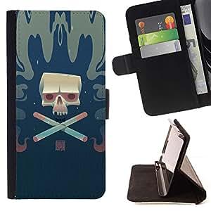 Momo Phone Case / Flip Funda de Cuero Case Cover - Cráneo del cigarrillo;;;;;;;; - LG G2 D800