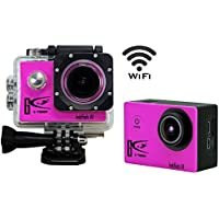 1+1Wifi Full Hd 1080p Sport Action Camera1.5 LCD 170 Degree Wide Angle Waterproof Cam DV Camcorder Outdoor for Diving Swimming Bicycle Motorcycle Sliver with Free Accessories Kit(pink)