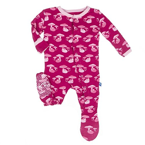 KicKee Pants Girls Print Footie Pprd-kpf173f16d1-Rdnfm, Rhododendron Field Mouse, 3-6 Months