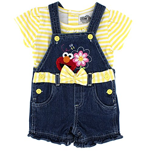 Sesame Street Elmo Baby Girls Tee and Shortall Set (12 Months, Yellow Elmo)