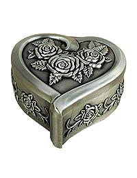 Infinite U Luxury Vintage Style Small Women Trinket Jewellery Box-5 Options Antique Sliver