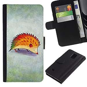 KingStore / Leather Etui en cuir / Samsung Galaxy Note 4 IV / Dessin Rouge brouillard enfants