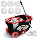 Tsmine 360 Spin Mop with Stainless Steel Bucket System, Deluxe Magic Spinning Mop with Wheels and Extend 61inch Handle, 6 Wet or Dry Microfiber Replacement Mop Heads for Home Floor Cleaning
