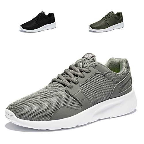 Needbo NDB Men's Women's Lightweight Walking Sneakers Flexible Sport Running Shoe,11 D(M) US/EU 45 M,Gray