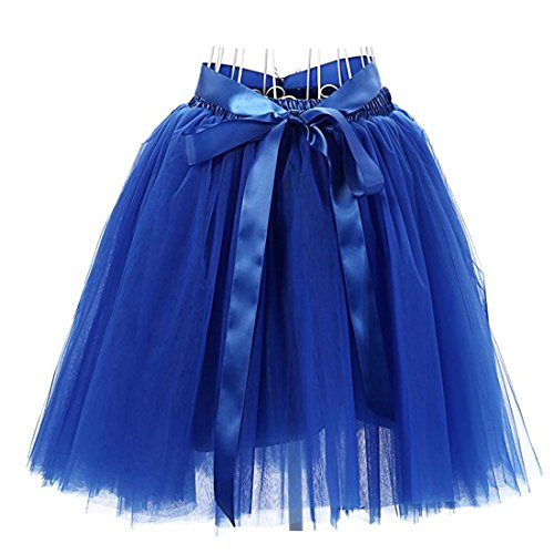 Facent Femmes 50cm 7 Couches Tutu Tulle Jupons Bleu Roi