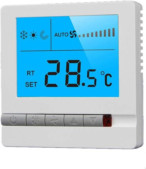 GCDN Termostato para Aire Acondicionado Central, Panel de calefacción de Piso Pantalla LCD integrada, Controlador de Temperatura Interior(White)