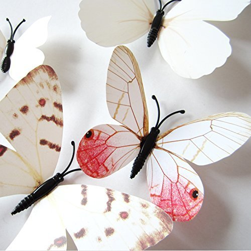 Topixdeals Wall Decal Butterfly, 48PCS 3D White Butterfly Stickers with Sponge Gum and Pins, Removable Butterfly Wall Sticker Decals for Room Home Nursery Decor