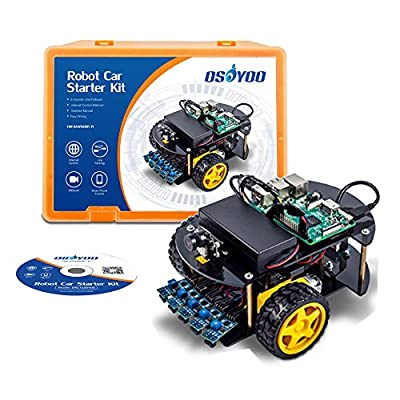 OSOYOO Robot Car Kit Starter Learning Kit for Raspberry Pi 3B B+ Zero Android/iOS APP WiFi Wireless Webcam 1280x720 Megapiexl