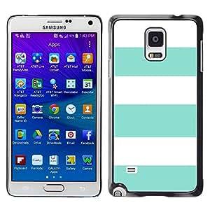 FECELL CITY // Duro Aluminio Pegatina PC Caso decorativo Funda Carcasa de Protección para Samsung Galaxy Note 4 SM-N910 // Teal Summer White Lines Pattern Sun
