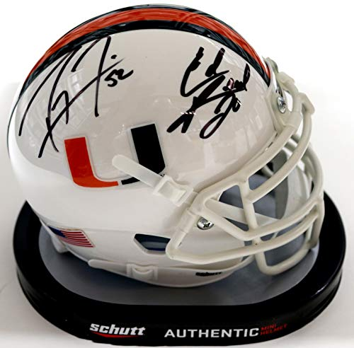 (Ray Lewis and Ed Reed Miami Hurricanes Signed Autographed Mini Helmet PAAS COA)