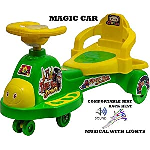 Goyal's Tuk Tuk Senior Free Wheel Musical Magic Car with Back Rest – (Green)
