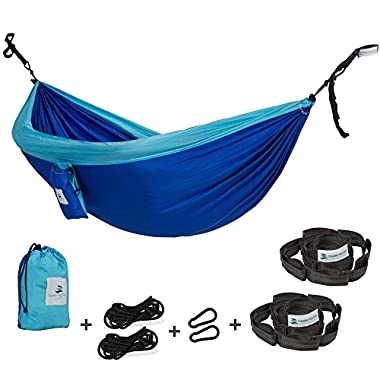 Towering Tree- Outdoor Hammock and FreeTree Straps Set - Double Hammock is suitable for Camping and Travel made of Parachute Silk Fabric and placed in a small Portable Bag. LIMITED TIME OFFER