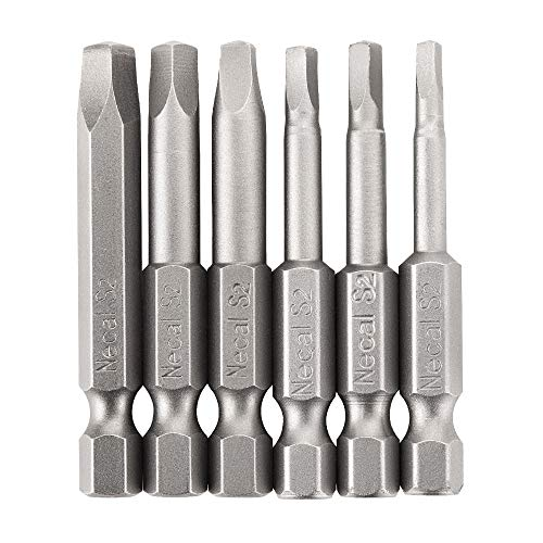 Rocaris 6 pcs 1/4 Inch Hex Shank Long Magnetic Square Head Screwdriver Bits Set Power Tools SQ1, SQ2, SQ2.7, SQ3, SQ4, SQ5 For Poket Hole Jig- 2 inch - Square Screwdriver Bit