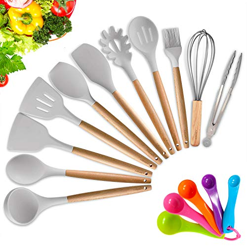 KINFAYV Silicone Cooking Utensil Kitchen Utensil Set,16 PCS Acacia Wooden Cooking Tool Spoons Spatula Turner Tongs Measuring Spoon Nonstick Nontoxic BPA Free Heat Resistant Kitchen Tools (Light Grey)