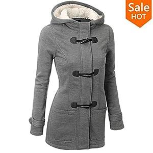 spyman Nice Autumn Hooded Horn Button Coat Women Winter Parkas Grey Outwear Fashion Long Women Overcoat S-XL Gray S