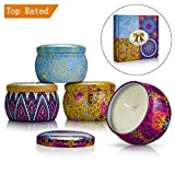 Yinuo Mirror Scented Candles Gift Sets, 4 Pack(4 * 4oz) Soy Wax Natural Vegan Candles with Travel Tin, Bath Yoga Aromatherapy, for Wife, Mother's Day, Anniversary