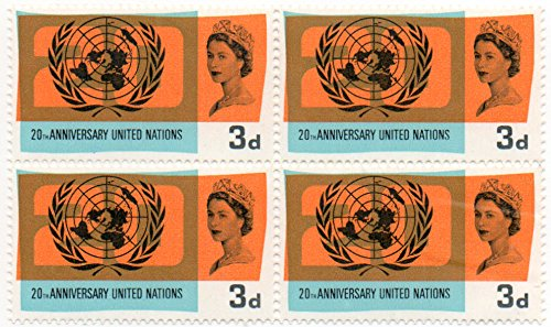 - Great Britain (UK) 1965 Postage Stamp Block Of 4 United Nations 20th Anniversary Issue Scott #440