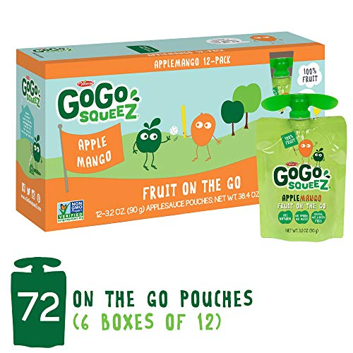 GoGo squeeZ Applesauce on the Go, Apple Mango, 3.2 Ounce (72 Pouches), Gluten Free, Vegan Friendly, Healthy Snacks, Unsweetened Applesauce, Recloseable, BPA Free - Sauce Apple Mango
