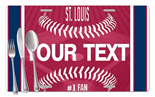 (BRGiftShop Personalized Custom Name Baseball Team St. Louis Set of 4 Table Placemats)