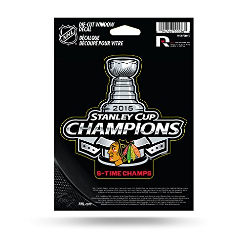Chicago Blackhawks Official NHL 5 inch 2015 Stanley Cup Champions Die Cut Car Decal by Rico Industries 887681