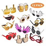 TD.IVES Funny Sunglasses Party Sunglasses Costume Sunglasses,12 Pack Cool Shaped by Funny Party Hats