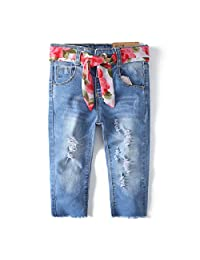 Kidscool Girls Ripped Holes Raw Edge Stretchy Soft Jeans with Colorful Waistband
