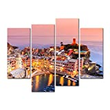 My Easy Art® 4 Piecesmodern Canvas Painting Wall Art The Picture For Home Decoration Vernazza Village Cinque Terre National Park Sunset Italy Bay Seascape Print On Canvas Giclee Artwork For Wall Decor