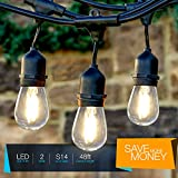 Brightech Ambience Pro LED Commercial Grade Outdoor String Lights with Hanging Sockets - Dimmable 2 Watt Bulbs - 48 Ft Market Cafe Edison Vintage Bistro Weatherproof Strand for Porch Patio Garden -Blk