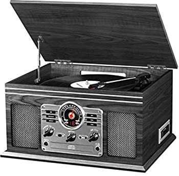 Victrola Nostalgic Classic Wood 6-in-1 Bluetooth Turntable Entertainment Center, Graphite 0