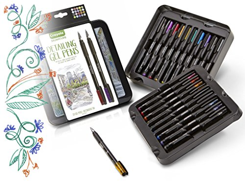 Crayola Detailing Gel Pens, Extra Fine Point, Metallic and Glitter, Gel Pen Set, Gift