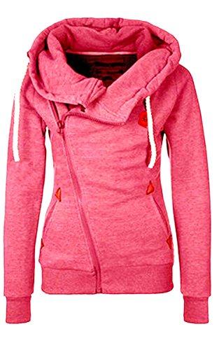 Ecowish, sudadera para mujer con cremallera, para invierno, cálida, con capucha Rosa