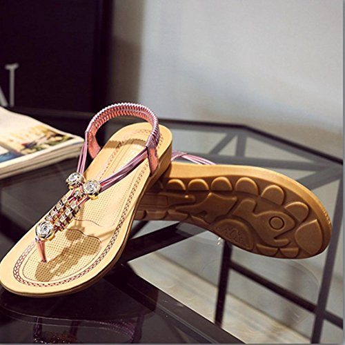 Kaiki Frauen Bohemia Perlen Sandalen Clip Toe Fischgrät Sandalen Strand Flache Schuhe Pink