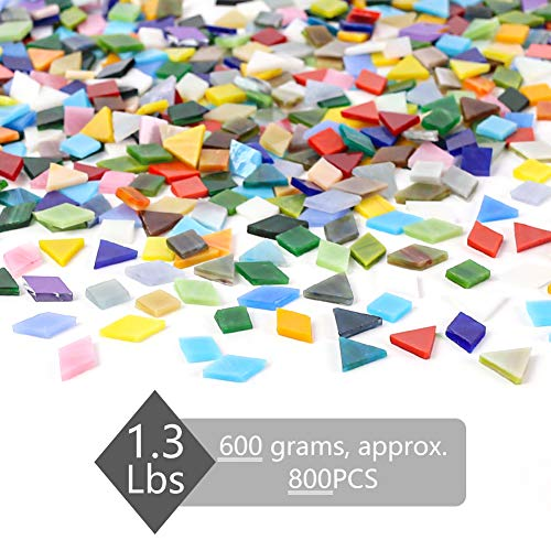 800PCS Mosaic Tiles, 1.3lbs Mixed Colors Stained Glass 3 Mixed Shapes DIY Crafts Supplies for Plates Picture Frames Flowerpots Handmade Jewelry Home Decor