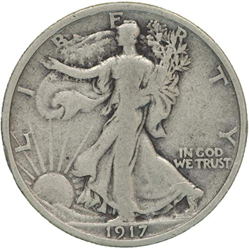 1917 Walking Liberty 90% Silver Half Dollar VG and Better Full Rim and Full Date US Mint