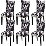 dining room design ideas Fuloon Super Fit Stretch Removable Washable Short Dining Chair Protector Cover Seat Slipcover for Hotel,Dining Room,Ceremony,Banquet Wedding Party (6, Black with White)