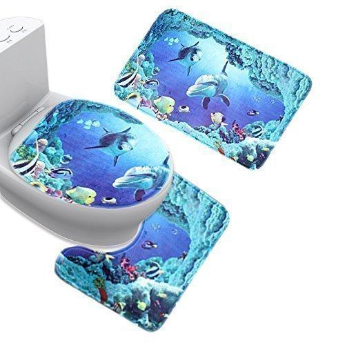Aoxintek - Set tappetini da bagno, motivo: delfino, squalo, 3 tappetini, set con tappeto da wc, piedistallo e coperchio wc, colore: blu Aoxintech