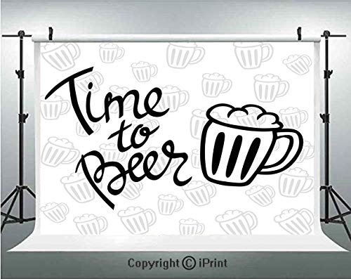 - Man Cave Decor Photography Backdrops Time to Beer Quote Cartoon Style Hand Drawn Mugs Foamy Lager Ale,Birthday Party Background Customized Microfiber Photo Studio Props,7x5ft,Silver White Black