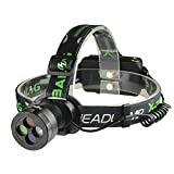X-BALOG LED Headlamp 3 Modes LED Headlight,Waterproof Hands-free Flashlight With White Red Yellow Blue Light Lens-18650 Battery Adjustable Headband,Best for Camping Hiking Christmas Gifts