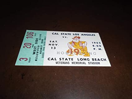 1965 Cal State At Long Beach State College Football Ticket Stub Near