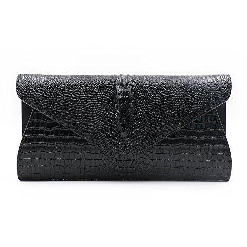 - GeniuR Women's Handbags Clutch Genuine Leather Crocodile Evening Handbags Party Clutches Handbag Daily Use Shoulder Bag (Black)
