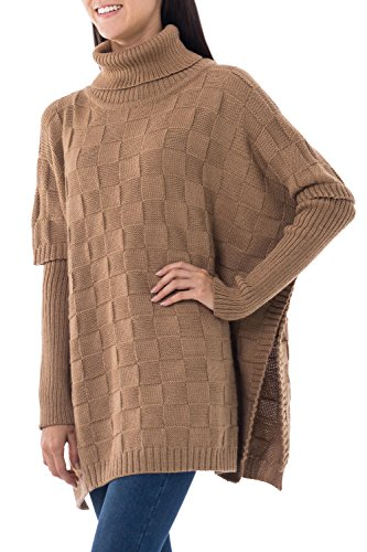NOVICA Brown Alpaca Blend Poncho, 'Tan Contrasts' by NOVICA